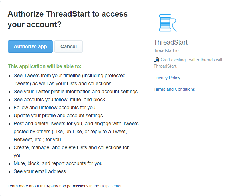 Threadstart.io Twitter permissions