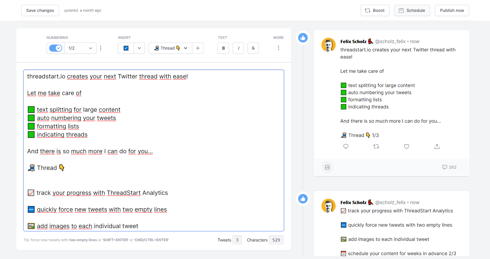 ThreadStart editor with Twitter thread content and tweet preview